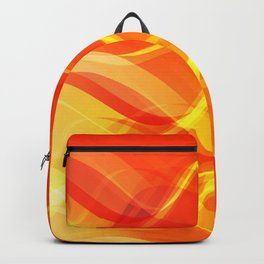 Theme of fire for the banner. Bright red and orange glare on a gentle background for a fabric or pos Backpack