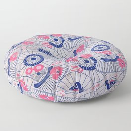 Vintage Japanese Papers: Ornate Parasol & Flower Pattern Floor Pillow
