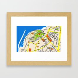 Tel Aviv Jaffa map design - written in Hebrew 2  Framed Art Print