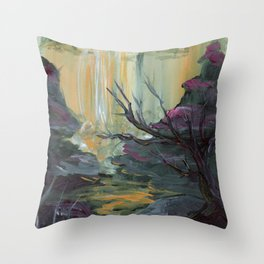 Waterfall Cliffs Throw Pillow