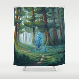Forest magic crystal landscape Shower Curtain