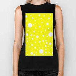 Mixed Polka Dots - White on Yellow Biker Tank