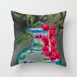 Summer colors- vintage bottle and red currant berries Throw Pillow