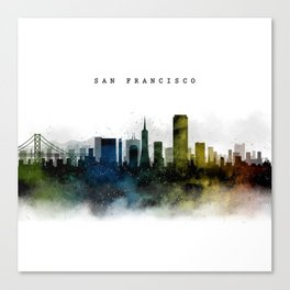 San Francisco Watercolor Skyline Canvas Print