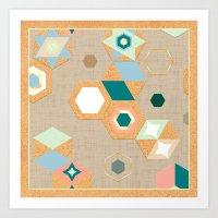 Cork Hexagons (Beige) Art Print