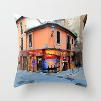 grafitti Throw Pillows featuring Grafitti on Elvira Street by Simon Ede Photography