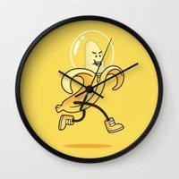 banana Wall Clocks featuring Banana by Alby Letoy