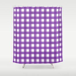 Farmhouse Gingham in Purple Shower Curtain