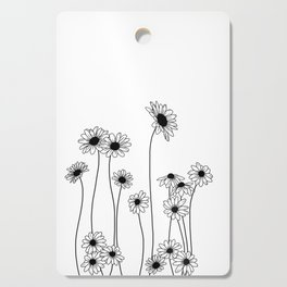 Minimal line drawing of daisy flowers Cutting Board