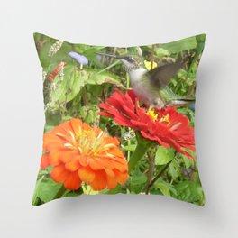 Flying Hummingbird Throw Pillow