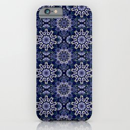 Blue Mandala Pattern Design iPhone Case