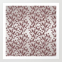 Stylish rose gold burgundy silver glitter gradient floral Art Print