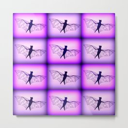 Pink and Purple Bat Drawings Metal Print