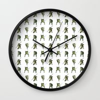 ninja turtle Wall Clocks featuring Ninja Turtle Pattern by Neal Julian