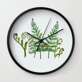 Fern Collage with Light Blue Gray Background Wall Clock