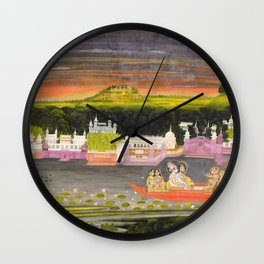 Radha and Krishna in the boat of love, 1755 Wall Clock