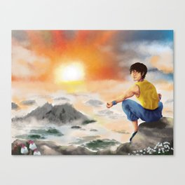 Meditating atop a Mountain Canvas Print