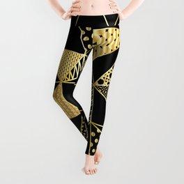 gold geometric with pattern Leggings