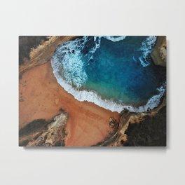 An Aerial shot of an Australian Beach surrounded by cliffs Metal Print