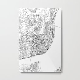 Lisbon White Map Metal Print