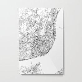 Lisbon White Map Metal Print