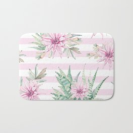 Rose Stripe Succulents - Pink and Mint Green Cactus Pattern Bath Mat