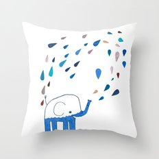how an elephant showers Throw Pillow