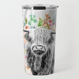 Highland Cow With Flowers on Marble Black and White Travel Mug