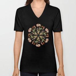 Flemish Floral Mandala 3 Unisex V-Neck