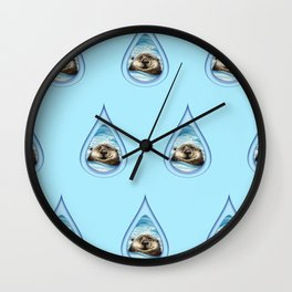 Sea Otter Drip Pattern Wall Clock