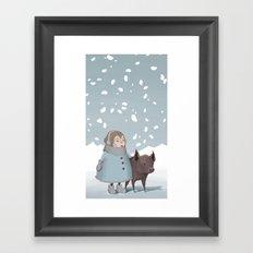 Pig in snow Framed Art Print