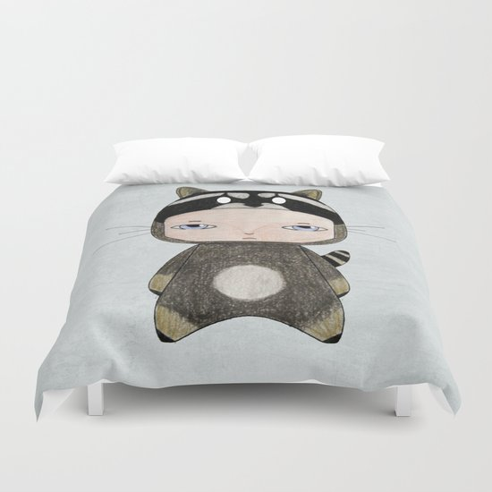A Boy - Raccoon Duvet Cover