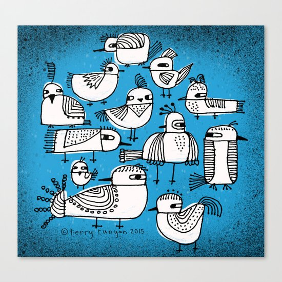 BIRDS IN BLUE Canvas Print