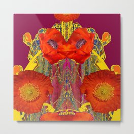 Modern Art Nouveau Orange-Burgundy  Poppy Flowers Metal Print