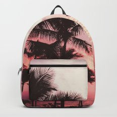 Tropical Palm Tree Pink Sunset Backpacks