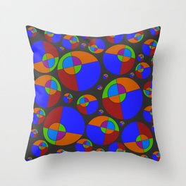 Bubble red & blue 09 Throw Pillow