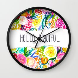Neon Summer Floral + Hello Beautiful Wall Clock
