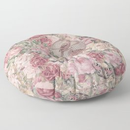 Romantic Flower Pattern And Birdcage Floor Pillow