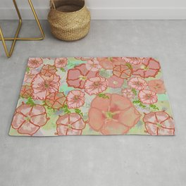 Fanciful Coral & Soft Peach Morning Glories Rug