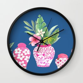 Pink Chinese Ginger jars on classic blue, 2020 Chinoiserie Wall Clock