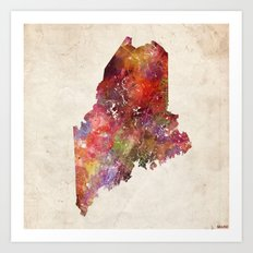 Maine map Art Print