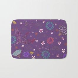 Purple Japanese kimono pattern Bath Mat