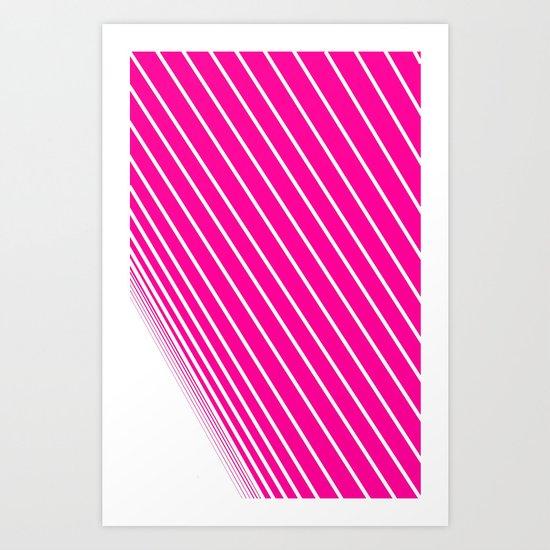 pink & white stripes Art Print