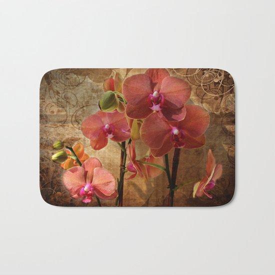Vintage Burnt Orange Orchid Bath Mat