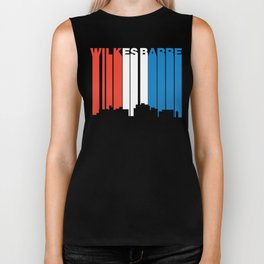 Red White And Blue Wilkes-Barre Pennsylvania Skyline Biker Tank