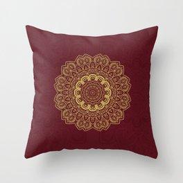 Mandala in Gold on Dark Red Throw Pillow