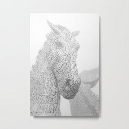 Kelpies equestrian horse sculpture, Scotland. Travel photography poster art print  Metal Print