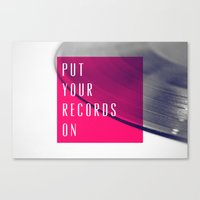 records Canvas Prints featuring Records - Pink by Galaxy Eyes
