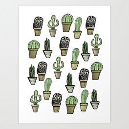 Cactus and Owl Art Print