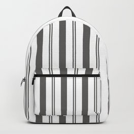 Pantone Pewter Gray & White Wide & Narrow Vertical Lines Stripe Pattern Backpack